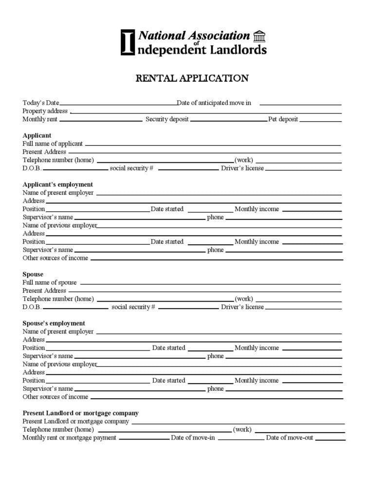 Alaska Rental Application Template